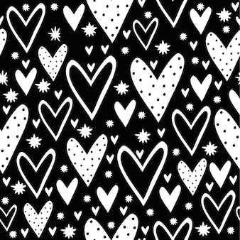 Seamless pattern with flowers and hearts