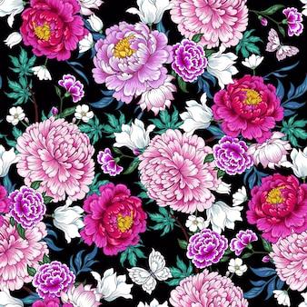 中国風の花とのシームレスなパターン