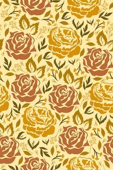 マスタード色の花とのシームレスなパターン。ベクトルグラフィックス。