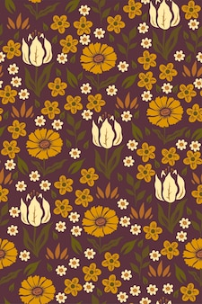マスタード色の花とのシームレスなパターン