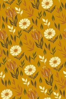 マスタード色の花とのシームレスなパターン。