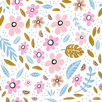 Seamless pattern with flowers, leaves and hand drawn elements.