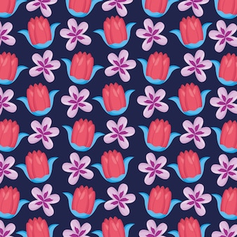 Seamless pattern with flowers leaves natural