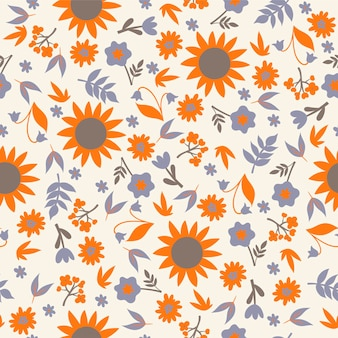 Seamless pattern with flowers and leaves.