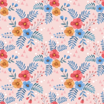 Seamless pattern with flowers and leaves