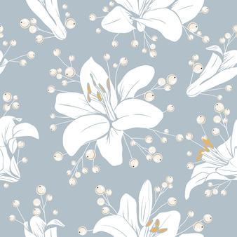Seamless pattern with flowers. lilium floral texture. hand drawn botanical vector illustration.