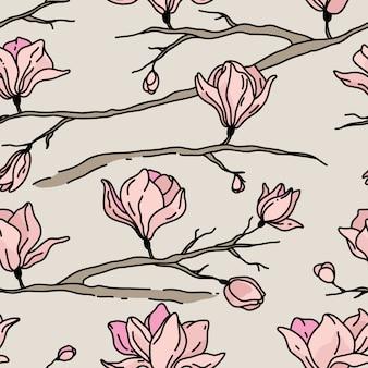 花とのシームレスなパターン。マグノリア
