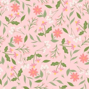 ピンクの花とのシームレスなパターン。