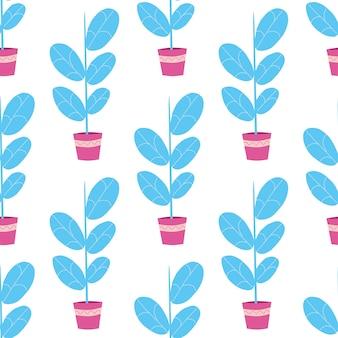花や植物、白い背景の上の鍋でのシームレスなパターン。北欧のフラットスタイル