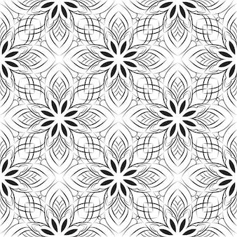 Seamless pattern with flowers, oriental style, mandala