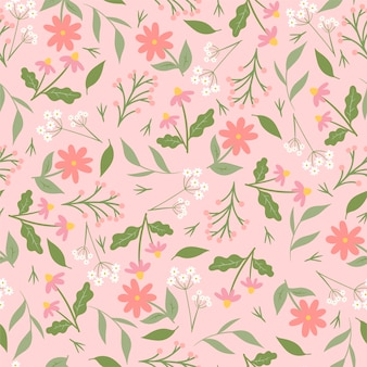 Seamless pattern with flowers on pink.