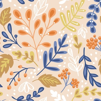Seamless pattern with flowers and plants.