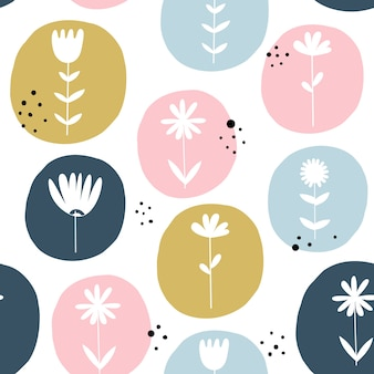 Seamless pattern with flowers. scandinavian style.