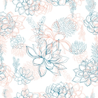 Seamless pattern with flowers and succulents.
