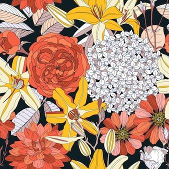 花とのシームレスなパターン。