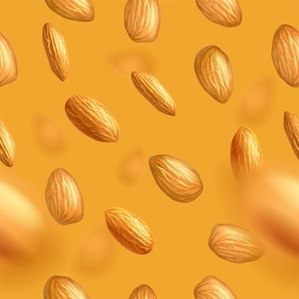 Seamless pattern with flying almonds. realistic  illustration. template for print and packaging , website, postcard, textile, clothing. photorealistic  background.