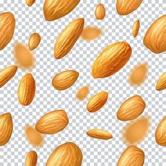 Seamless  pattern with flying almonds on transparent background. realistic  illustration. template for print and packaging , website, postcard, textile, clothing.