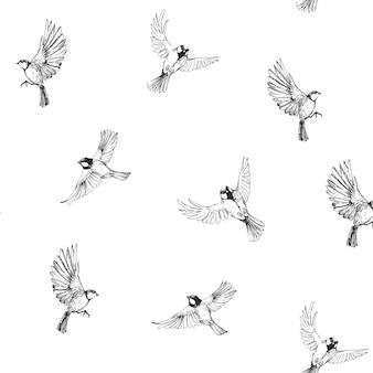 飛んでいる鳥とのシームレスなパターン。白で隔離手描きイラスト
