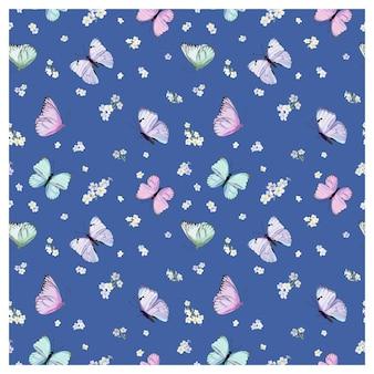 Бесшовный фон с летающими бабочками и цветами анютиных глазок в стиле акварели