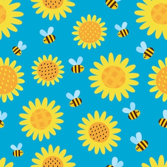 Seamless pattern with flying cartoon bees and flowers isolated on blue background.