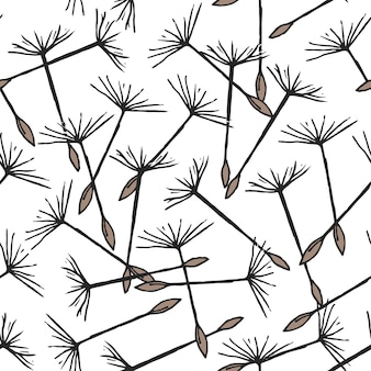Seamless pattern with flying dandelion seeds or achenes on pappuses drawn on white background. natural vector illustration with flower parts for backdrop, textile print.