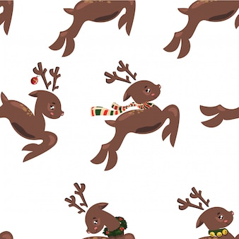 Seamless pattern with flying deers. wallpapers with running deer. prints for textiles with deer santa.