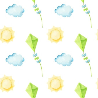 Seamless pattern with flying kite among the clouds and the sun