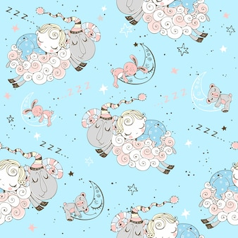 Seamless pattern with flying lambs and babies for boys.