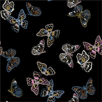 Seamless pattern with flying paint brush  butterflies , illustration