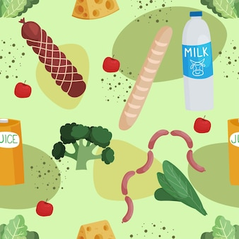 食品ハムパン野菜ミルクチーズソーセージハーブとのシームレスなパターン