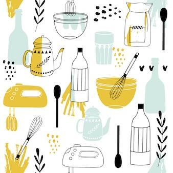 Безшовная картина с элементами еды.