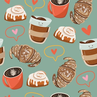 Seamless pattern with foods elements.
