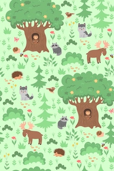 Seamless pattern with forest animals and plants. vector graphics.