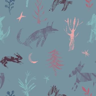 森の動物とのシームレスなパターン。