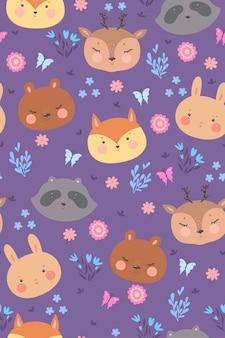 숲 동물들과 함께 완벽 한 패턴입니다.