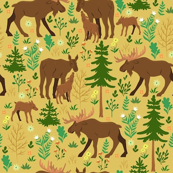 Seamless pattern with forest moose. vector graphics.