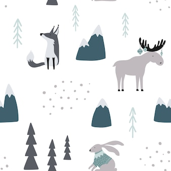 Seamless pattern with fox, goat, elk and rabbit in forest.