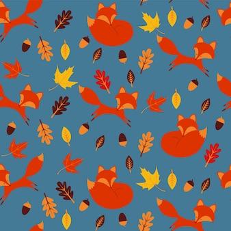 Бесшовный узор с лисами, желудями и листьями.