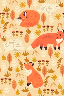 Seamless pattern with foxes and hares