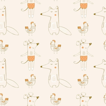 Seamless pattern with foxmouse and hen hand drawn  illustrationcan be used for kidsbabys