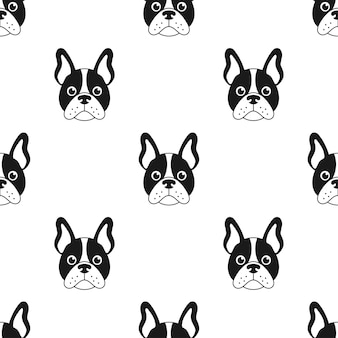 Seamless pattern with french bulldog