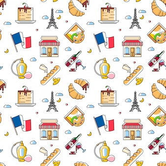 Seamless pattern with french culture items