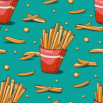 Seamless pattern with french fries