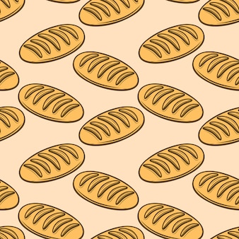 Seamless pattern with fresh bread illustrations.  element for poster, wrapping paper.  illustration
