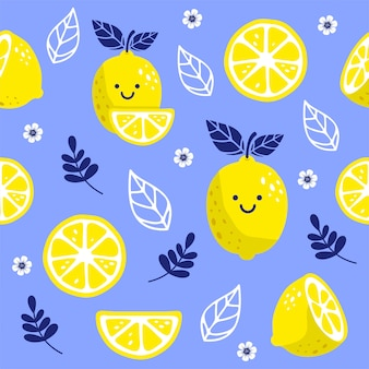 Seamless pattern with a fresh lemon cute character.