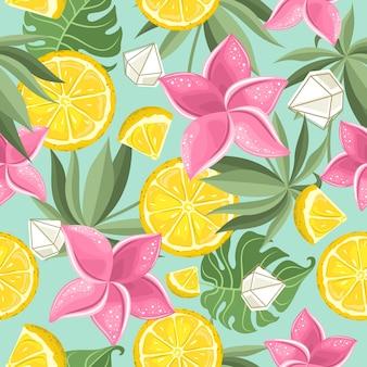 Seamless pattern with fresh lemon
