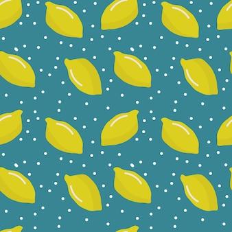 Бесшовный фон со свежими лимонами и белыми точками красочный яркий фон