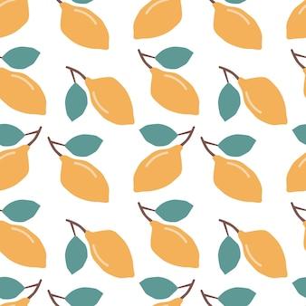 Бесшовный фон со свежими лимонами красочный яркий фон цитрусовые печать