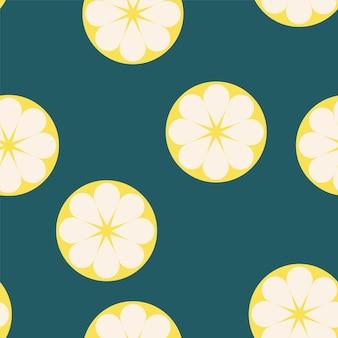 青い背景に新鮮なレモンとのシームレスなパターン-ウェブサイトのデザインのためのトレンディなシンプルなベクトル記号-ミニマリズム