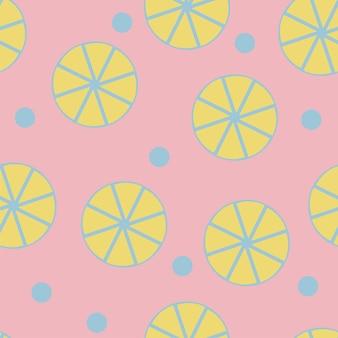 ピンクの背景に新鮮なレモンとのシームレスなパターン-ウェブサイトのデザインのためのトレンディなシンプルなベクトル記号-ミニマリズム